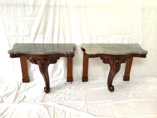 Pair Victorian Console Tables - Pair Mid 19th Century Hall Console Tables With Slate Tops
