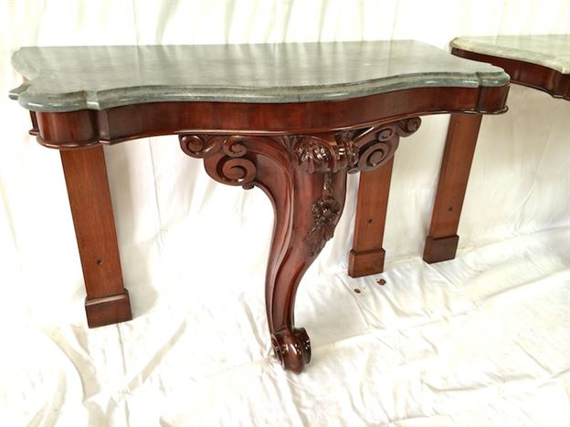 Pair Victorian Console Tables   Pair Mid 19th Century Hall Console Tables  With Slate Tops