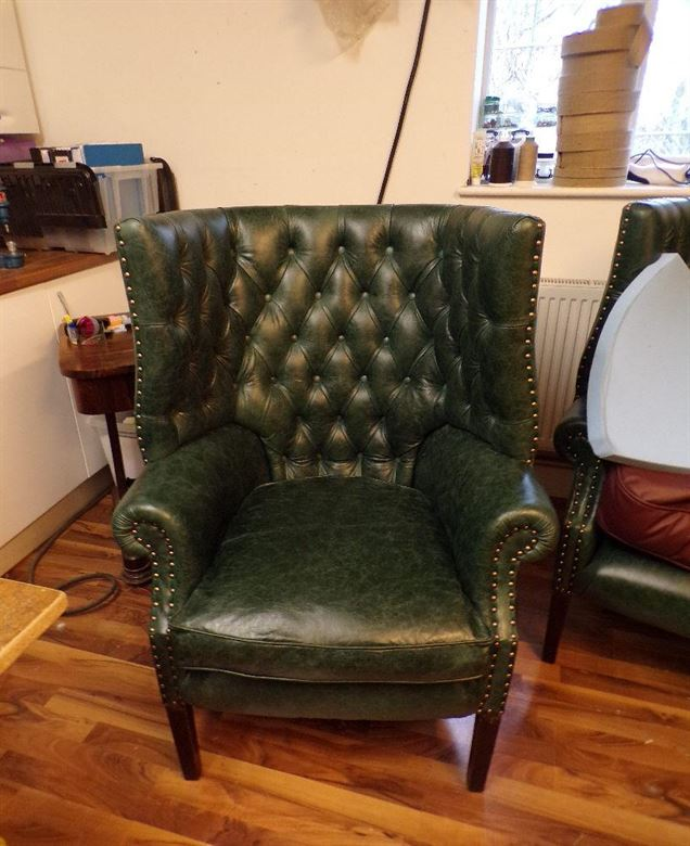 Pair Victorian Large Grand Hall Library Armchairs