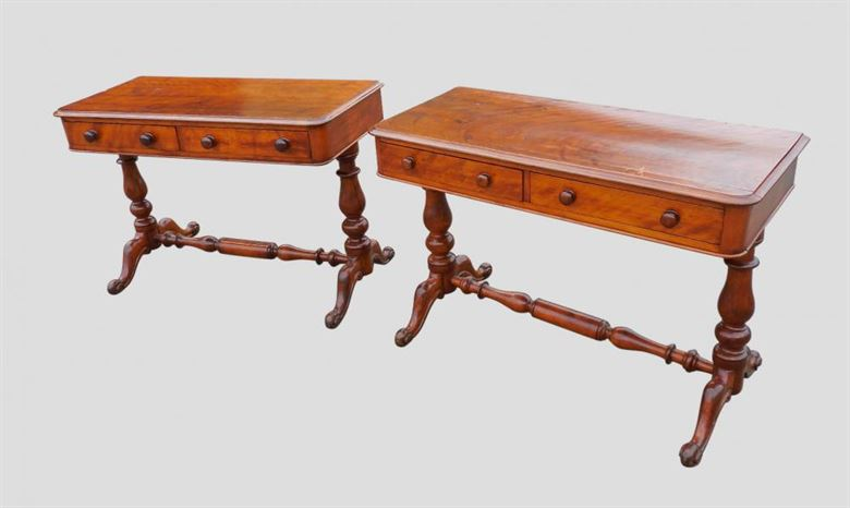 Pair Victorian Mahogany Console Tables With Drawers