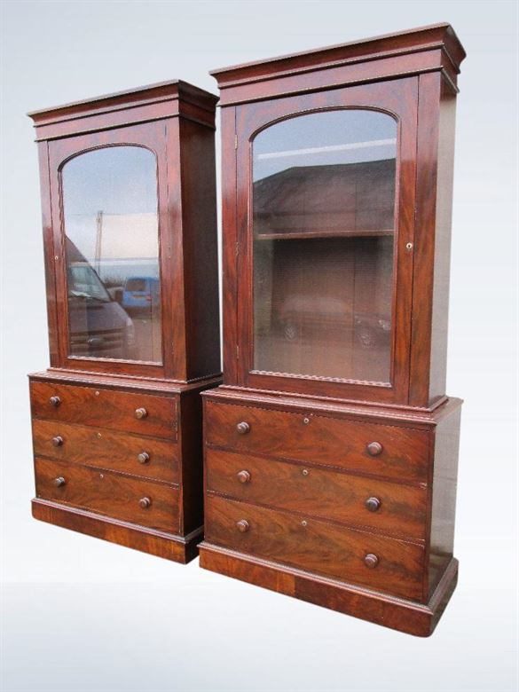 pair antique bookcases cabinets
