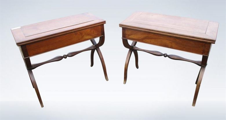 Pair Antique French Walnut Serving Side Console Tables 19th Century