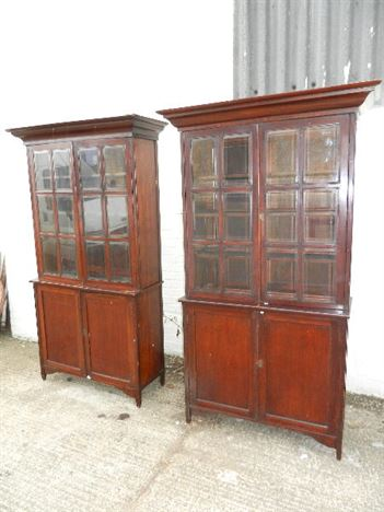 Pair Antique Mahogany Bookcases - Pair Arts & Crafts Influenced Full Height Glazed Bookcases