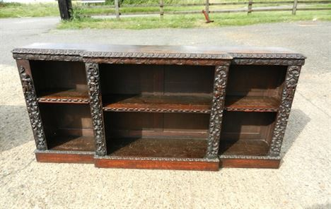 Pair Antique Oak Bookcases - Pair Victorian Jacobean Carved Oak Breakfront Dwarf Library Bookcases.