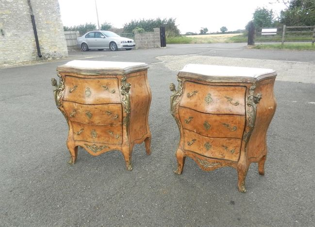 Pair Antique Walnut Commodes   Pair Of Vintage French Design Bombay Walnut  And Ormolu Commodes. Antique Bedroom Furniture UK   Antique Beds  Antique Wardrobes