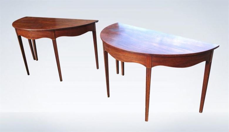 Pair Antique Tables - Pair Of George III Early Regency Period Demi Formed Mahogany Console Tables