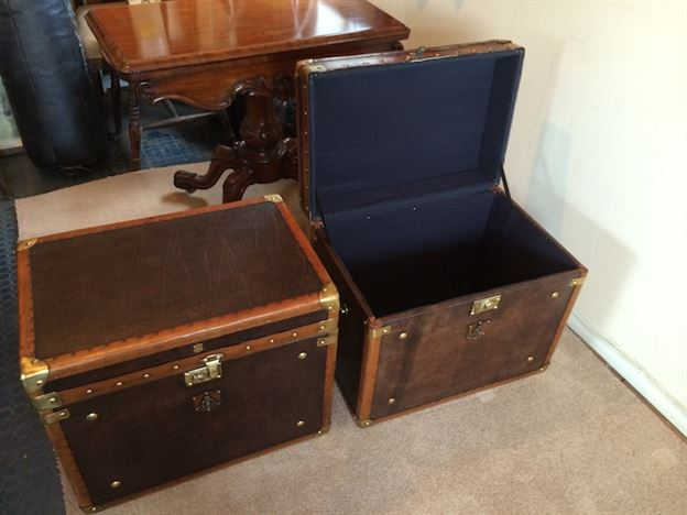 Pair Of Antique Military Style Leather Trunks