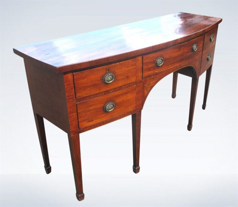 Regency Mahogany Bow Fronted Sideboard Shallow Depth
