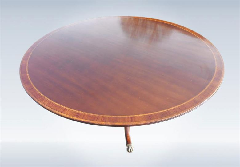 Round Antique Table - Large 6ft Round Regency Revival Mahogany Dining Table To Seat 10 People