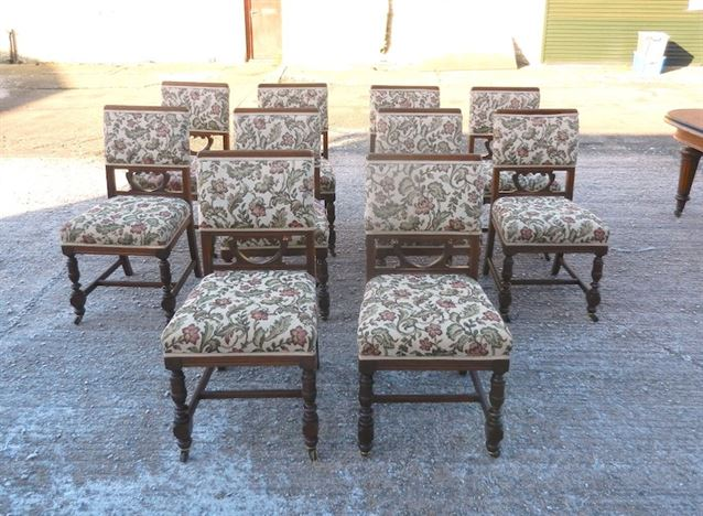 Set 10 Arts Crafts Chairs - Ten Late Victorian Walnut Framed Upholstered  Dining Chairs - ANTIQUE FURNITURE WAREHOUSE - Set 10 Arts Crafts Chairs - Ten Late