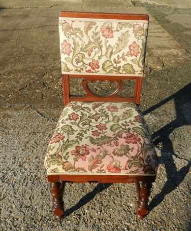 Set 10 Arts Crafts Chairs - Ten Late Victorian Walnut Framed Upholstered Dining Chairs