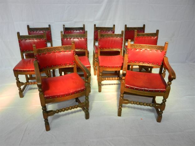 ANTIQUE FURNITURE WAREHOUSE Set Arts Crafts Oak Chairs Set - Upholstered dining chairs uk