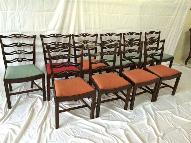 Set 10 Georgian Chairs - Set Ten Chippendale Revival Mahogany High Back Dining Chairs