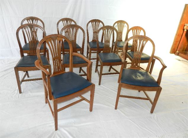 Set 10 Georgian Chairs - Set Ten Hepplewhite Revival Dome Back Dining Chairs With Carvers