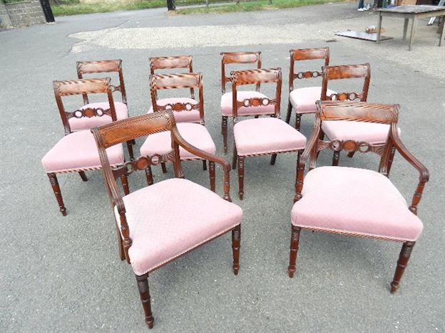 Set 10 Original Georgian Chairs - Set Ten Regency Period Mahogany Bar Back Chairs With Carvers