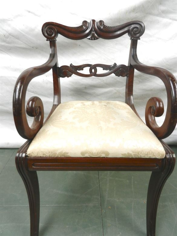 Set 10 Original Georgian Dining Chairs - Set Ten Regency Period Mahogany Dining Chairs With Sabre Legs