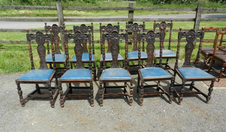 Set 10 Antique Oak Dining Chairs - Set Ten Late Victorian Jacobean Carved Oak High Back Dining Chairs
