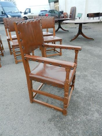 Set 10 Antique Oak & Leather Chairs - Set Ten Cromwellian Revival Refectory Chairs
