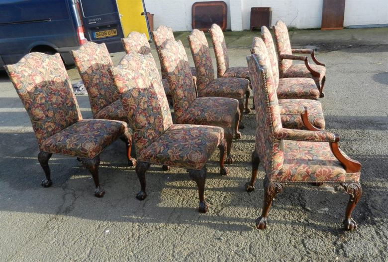 Set 12 Georgian Chairs - Set Twelve 18th Century George II Manner High Back Mahogany Dining Chairs