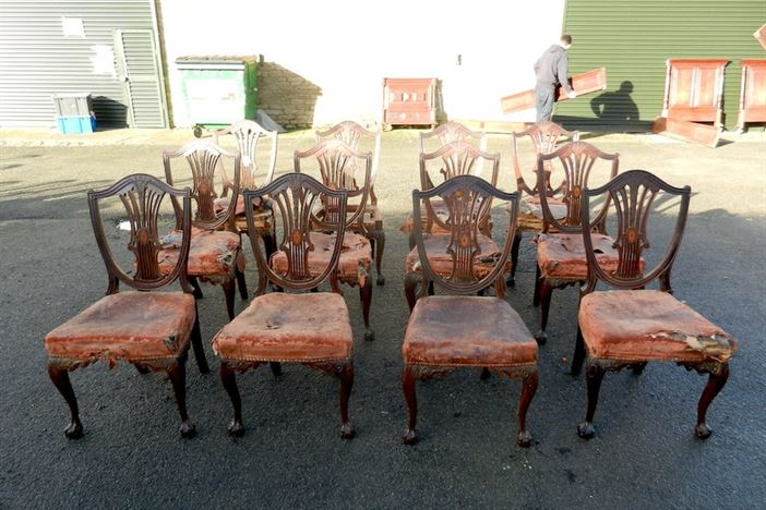 Set 12 Georgian Mahogany Dining Chairs - Late 19th Century Set Of Twelve Mahogany Dining Chairs