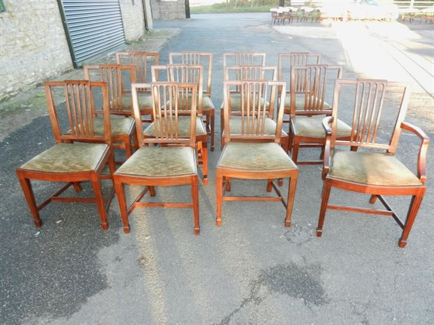 Set 12 Georgian Dining Chairs - Set 12 Sheraton Design Georgian Revival Mahogany Dining Chairs