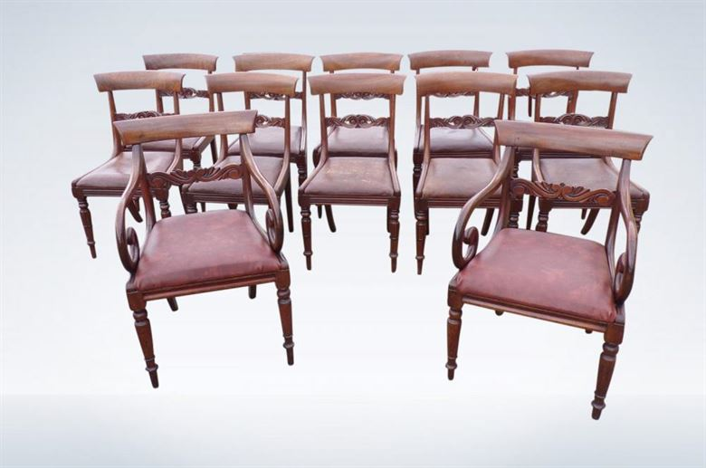 Set 12 Regency Mahogany Bar Back Dining Chairs With Carvers