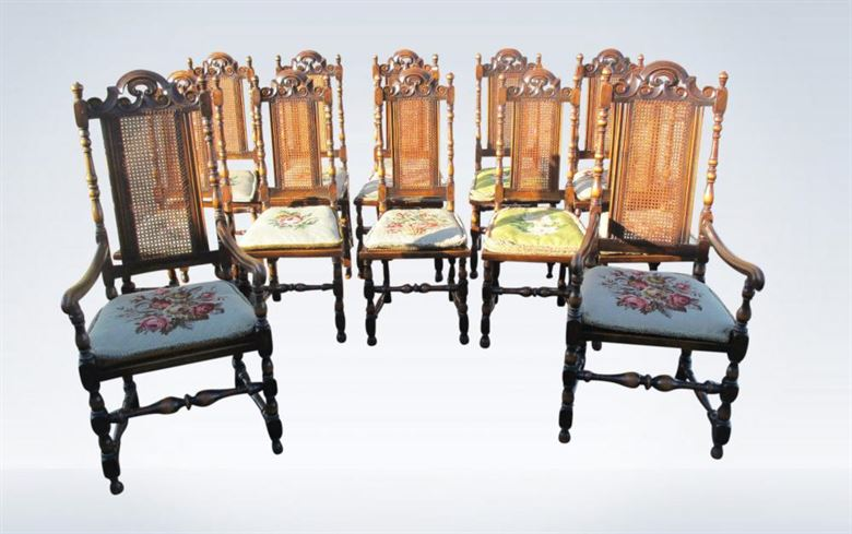 Set 12 Jacobean Carolean High Back Chairs
