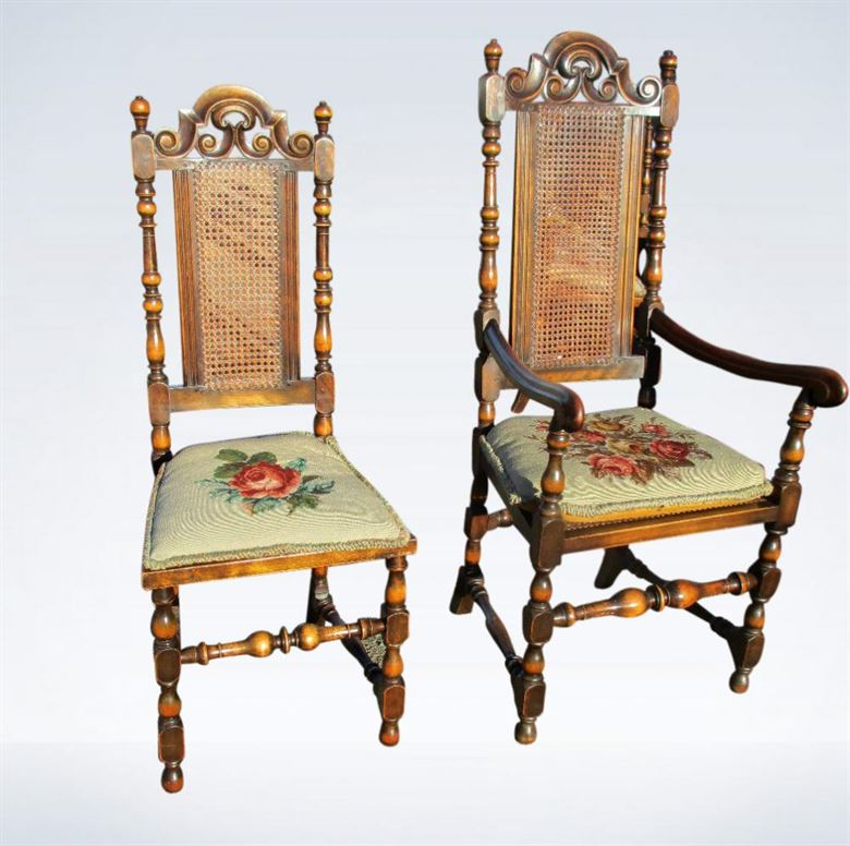 Set 12 Twelve Antique High Back Dining Chairs Carolean Jacobean - Walnut Dining Chair Sets