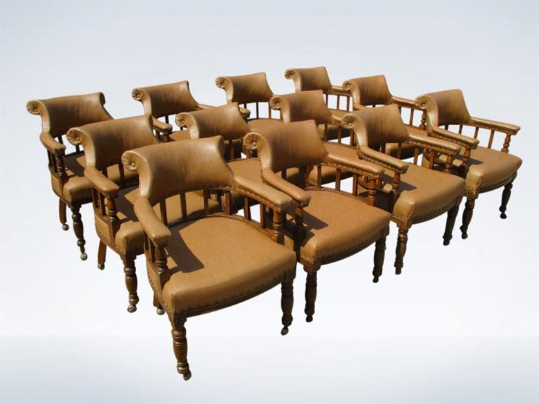 Set 12 Twelve Antique Leather Tub Club Chairs