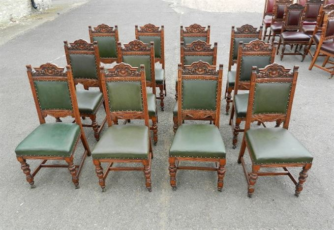 Antique Furniture Warehouse Set 12 Victorian Oak Chairs