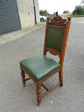 Set 12 Victorian Oak Chairs - Set Of Twelve Victorian Oak Framed & Leather Chairs