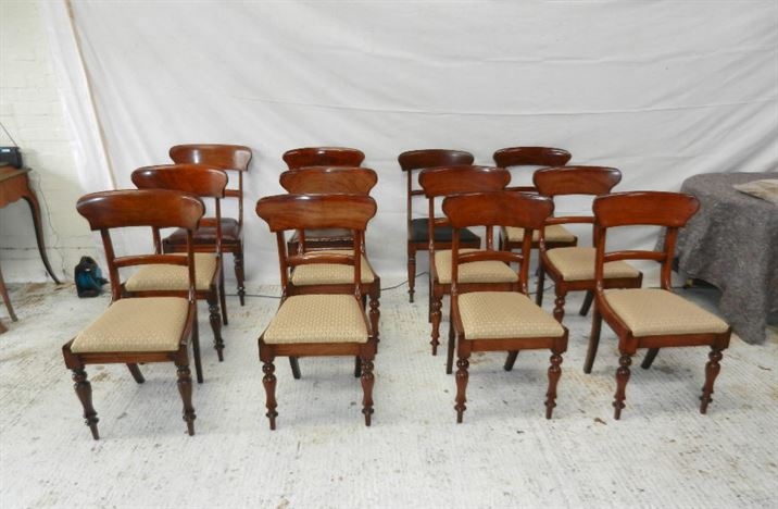 Set 12 Antique Dining Chairs - Set Twelve Early Victorian Harlequin  Mahogany Bar Back Dining Chairs - ANTIQUE FURNITURE WAREHOUSE - Set 12 Antique Dining Chairs - Set