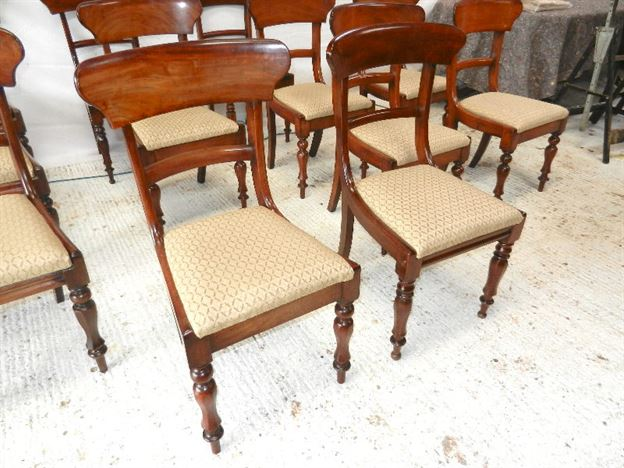 Set 12 Antique Dining Chairs - Set Twelve Early Victorian Harlequin Mahogany Bar Back Dining Chairs
