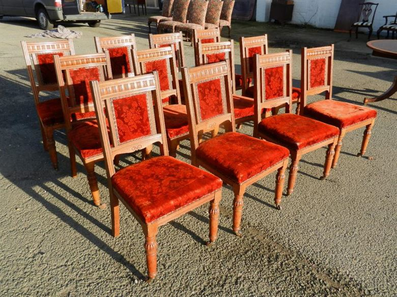 Set 12 Antique Oak Chairs - Set Twelve Late 19th Century Oak Framed Arts & Crafts Influenced Dining Chairs