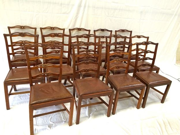 Set 14 Georgian Dining Chairs - Set Fourteen 18th Century Revival Mahogany Dining Chairs
