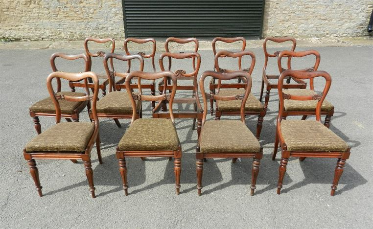 Set 14 Antique Chairs - Matched Set Of Fourteen Early 19th Century Post Regency Balloon Formed Dining Chairs