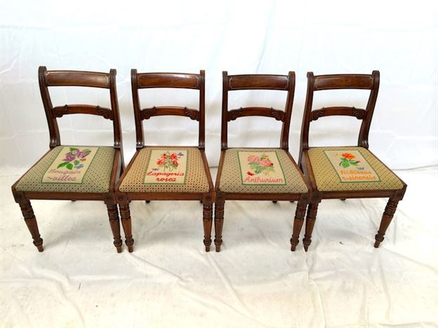 Set 4 Original Regency Chairs - Four Late Georgian Mahogany Bar Back Chairs