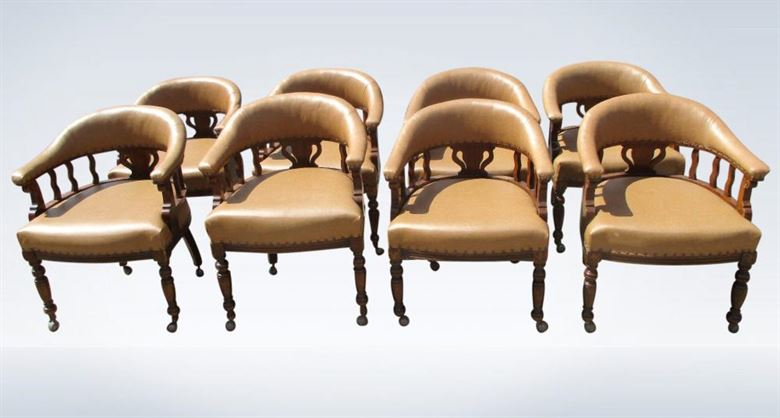 Set 8 Eight Antique Leather Tub Club Chairs