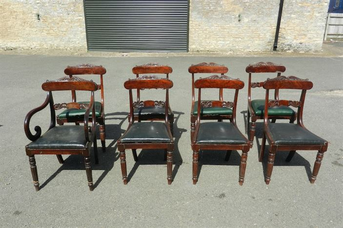 Set 8 Georgian Chairs - Set Eight George IV Mahogany Bar Back Dining Chairs With Gillows Reeded Legs