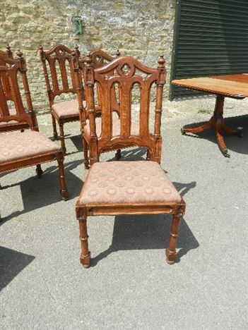 Set 8 Gothic  Chairs - Eight High Back Gothic Design Oak Dining Chairs
