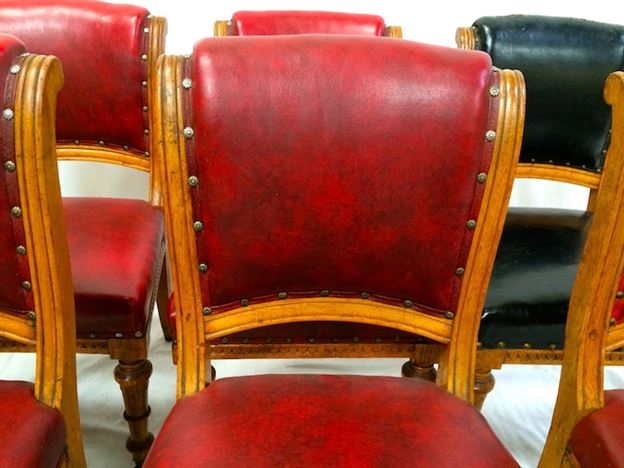 Set 8 Antique Oak Chairs - Set Eight Mid Victorian Oak Dining Chairs