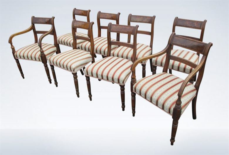 Set 8 Antique Regency Mahogany Dining Chairs Bar Backs