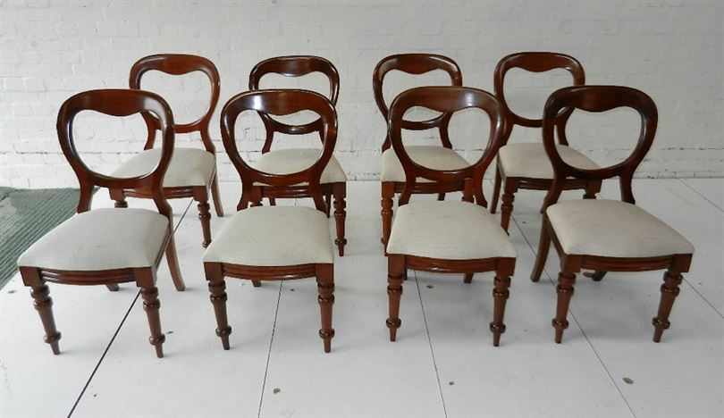 Set 8 Antique Victorian Dining Chairs - Set Eight Victorian Mahogany  Balloon Back Dining Chairs - ANTIQUE FURNITURE WAREHOUSE - Set 8 Antique Victorian Dining