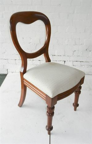 Set 8 Antique Victorian Dining Chairs - Set Eight Victorian Mahogany Balloon Back Dining Chairs