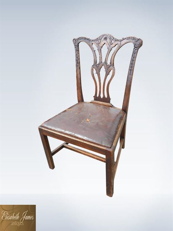 Set Eight Chippendale George III 19th Century Mahogany Dining Chairs