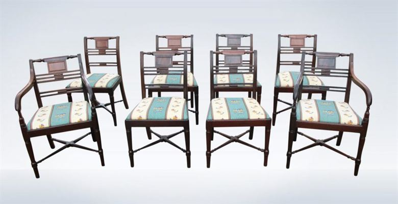Set Eight Antique Georgian Mahogany Dining Chairs George III Period