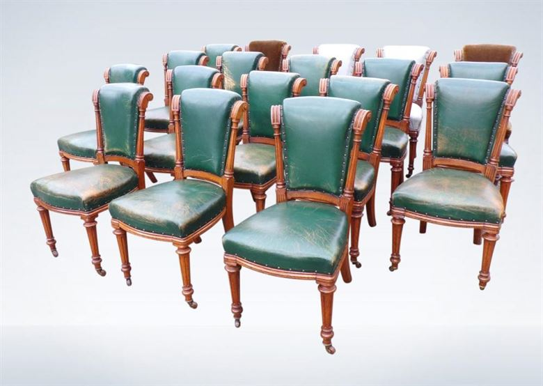 Set Eighteen Antique Oak Framed & Leather Victorian Chairs
