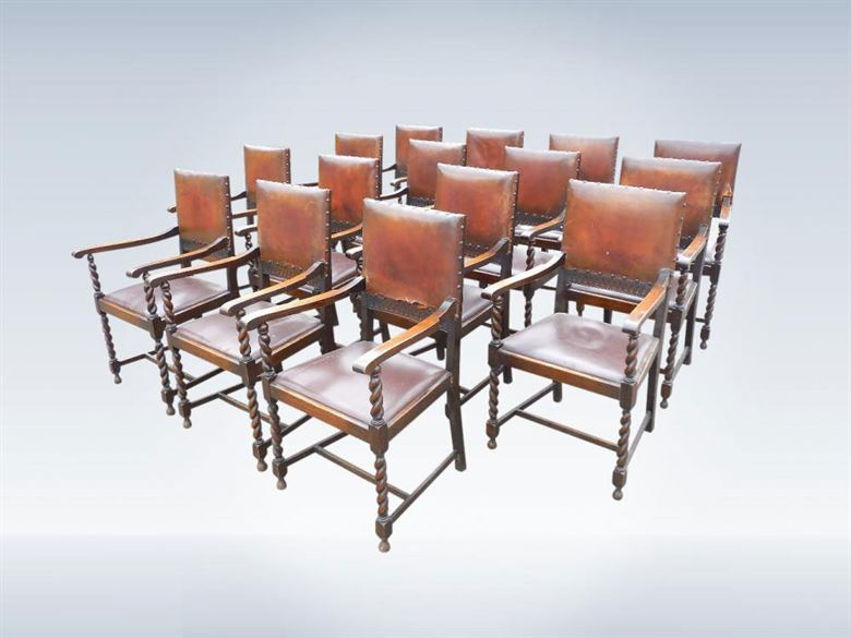 Set Of Fourteen Classic 17th Century Design Antique Dining Chairs