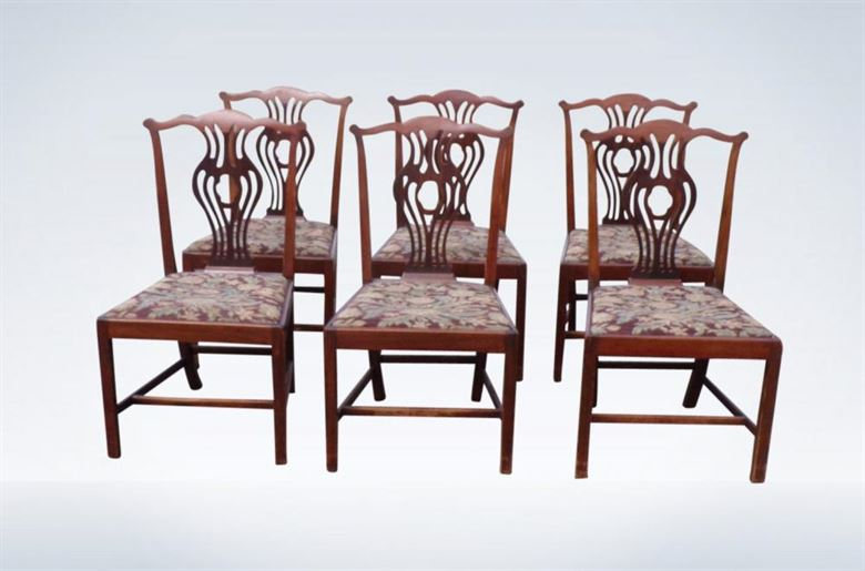Set Of Six George III Chippendale 19th Century Dining Chairs