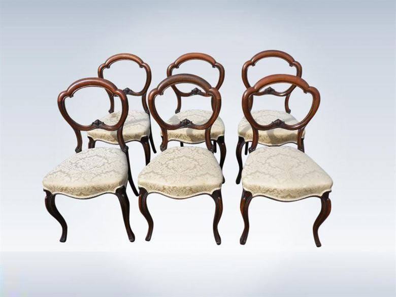 Set Of Six Original Victorian Rosewood Balloon Back Cabriole Leg Chairs